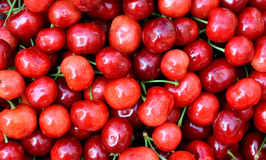 Cherry in red. Fresh fruit cherry in red color, shown as objective in intersting color and shape, raw and fresh fruit Stock Photos