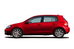 Cherry red hatchback Stock Photos