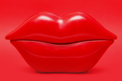 Cherry red lips Royalty Free Stock Photography
