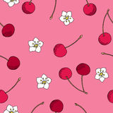 Cherry red pink berry white flower graphic art seamless pattern illustration Royalty Free Stock Photo