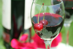 Cherry and red wine Stock Photos