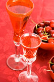 Cherry and red wine Royalty Free Stock Image