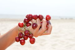 Cherry. Ripe cherries in the woman hand Royalty Free Stock Photos