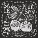 Cherry ripe vector logo design template. fresh Royalty Free Stock Images