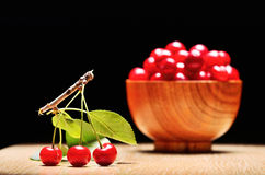 Cherry. Ripen cherry on wooden background Stock Photo