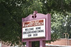 Cherry Road Baptist Church Sign, Memphis, Tennessee. Located at the intersection of the Fizer Avenue and Cherry Road, the wonderful red-brick structure of the stock photo