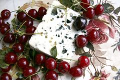 Cherry and roquefort cheese Stock Image