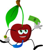 Cherry running with money Stock Photography