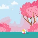 Cherry Sakura Blossom Rubber boll för blomninggreen för filial ljus tree för fjäder för natur vektor Arkivbilder