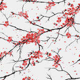 Cherry or sakura seamless pattern background Stock Photo