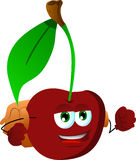Cherry with school bag Stock Images