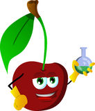 Cherry scientist holds beaker of chemicals Royalty Free Stock Image