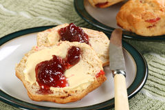 Cherry scones with jam Stock Photo