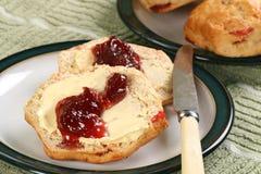 Cherry scones with jam Stock Photo