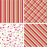 Cherry seamless fruit pattern. Cherry fruit seamless fruit pattern with like colour stripe and plaid Stock Photography