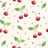 Cherry seamless pattern. background, pattern, fabric design, wrapping paper, cover Stock Image