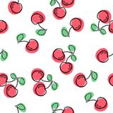 Cherry seamless pattern. Good for textile, wrapping, wallpapers, etc. Sweet red ripe cherries isolated on white background. Vector. Cherry seamless pattern. Good stock illustration