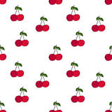 Cherry seamless pattern by hand drawing on white backgrounds. Stock Photography