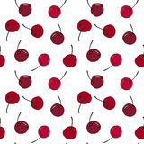 Cherry seamless pattern by hand drawing on white backgrounds. Stock Images