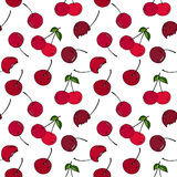 Cherry seamless pattern by hand drawing on white backgrounds. Stock Photo