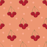 Cherry seamless pattern. On a pink background Royalty Free Stock Photography