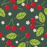 Cherry seamless pattern. Red ripe cherry with leaves and flowers on shabby background. Original simple flat illustration. Shabby style royalty free illustration