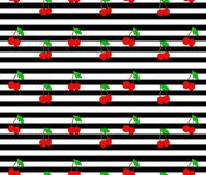 Cherry. Seamless pattern with red sweet cherry berries on stripes background. Stock Photo
