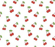 Cherry. Seamless pattern with red sweet cherry berries on white. Stock Images