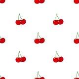 Cherry seamless pattern. Ripe, sweet, tasty berries. Juicy vegetarian nutrition. Ripe cherries seamless pattern. Fresh healthy red berry Royalty Free Stock Images