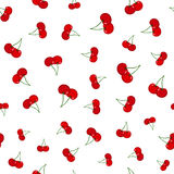 Cherry seamless pattern. Ripe, sweet, tasty berries. Juicy vegetetarian food. Ripe cherries seamless pattern. Fresh healthy red berry Royalty Free Stock Photos