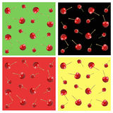 Cherry, seamless pattern set Royalty Free Stock Images