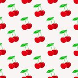 Cherry seamless pattern. Texture for textile, wallpaper, wrappings. And other surfaces. Vector Illustration in flat style Stock Photos
