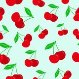 Cherry seamless pattern. Texture for textile, wallpaper, wrappings. And other surfaces. Vector Illustration in flat style Royalty Free Stock Photography