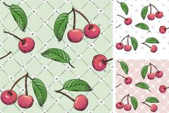 Cherry seamless patterns Stock Image