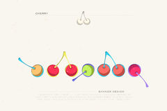 Cherry. Set of colorful cherry icons  on white background. vector fresh fruit banner design. cool, delicious natural product package template Royalty Free Stock Photos