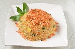 Cherry shrimp fried rice. On white plate Royalty Free Stock Photos
