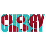 Cherry sign. Vector Cherry poster with double exposure effect Stock Image