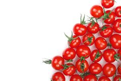 Cherry small tomatoes isolated on white background with copy space for your text. Top view. Flat lay.  royalty free stock photo