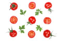 Cherry small tomatoes with parsley leaves isolated on white background. Set or collection. Top view. Flat lay Royalty Free Stock Images