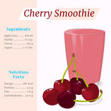 Cherry smoothie recipe. Menu element for cafe or restaurant with ingridients and nutrition facts in cartoon style. For Royalty Free Stock Photography