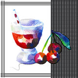 Cherry. Smoothie in watercolor style Royalty Free Stock Images