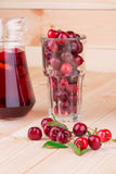 Cherry smoothie on the wooden background. Stock Image