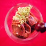 Cherry sorbet. Cherries and rhum sorbet in wine glass stock image