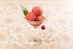 Cherry sorbet. With fresh cherries in a glass kremanke Royalty Free Stock Photos