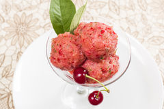 Cherry sorbet. With fresh cherries in a glass kremanke Stock Photos