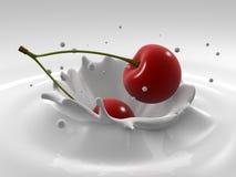 Cherry splash. 3d rendered illustration of a milk splash with a cherry Royalty Free Stock Image