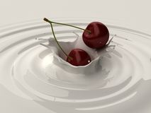 Cherry splash Stock Images