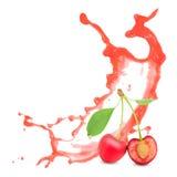 Cherry splash Royalty Free Stock Images