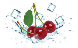Cherry splash water and ice cubes isolated Stock Images