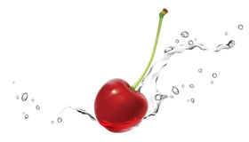 Cherry_splashing_in_water Fotografia Stock Libera da Diritti